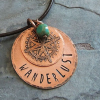 Wanderlust Necklace, Etched Copper Compass, Travel Necklace, World Travel, Roam, Adventure, On the Road, Journey