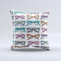 Various Colorful Vector Glasses ink-Fuzed Decorative Throw Pillow