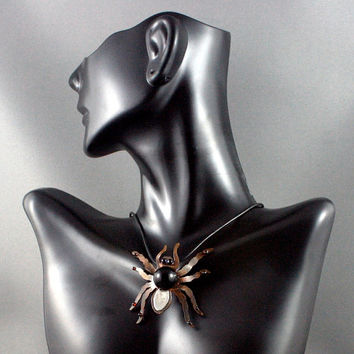 Spider jewelry. Spider necklace. Black onyx necklace. Halloween jewelry