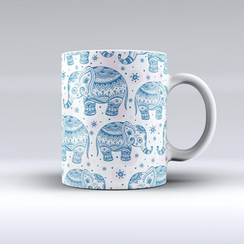 The Ethnic Navy Seamless Aztec Elephant ink-Fuzed Ceramic Coffee Mug