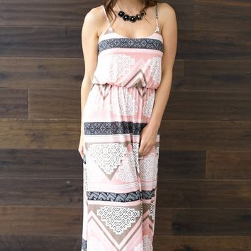 Pink Aztec Printed Maxi Dress