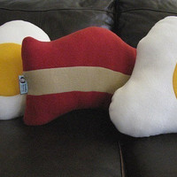 Plush Bacon and Eggs Pillow Set  Geek Chic Home by freakyfleece
