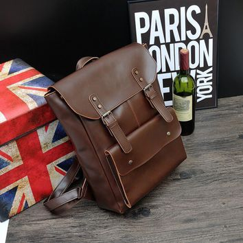 bag again 030617 new hot man vintage leather backpack male travel bag
