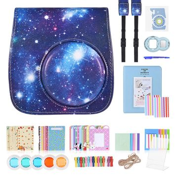 13 in 1 Accessories Kit for Fujifilm Instax Mini 8/8+/8s/9 w/Camera Case/Strap/Sticker/Selfie Lens/Colored Filter/Album etc