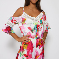Printed Lace Cutout-Shoulder Sleeve Romper