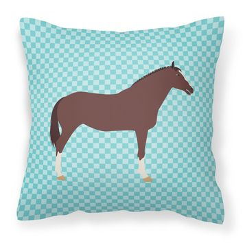 English Thoroughbred Horse Blue Check Fabric Decorative Pillow BB8087PW1818