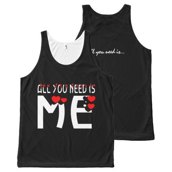 All You Need Is Me Black All-Over Print Tank Top