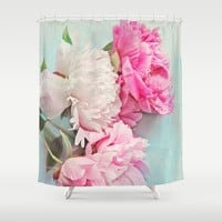 3 peonies Shower Curtain by Sylvia Cook Photography