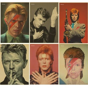 Rock music singer David Bowie poster Retro kraft paper vintage poster bar wall decoration wall sticker