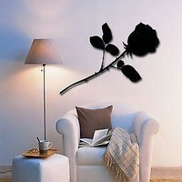Wall Stickers Vinyl Decal Black Rose Flower Floral Decor For Bedroom Unique Gift (z1729)