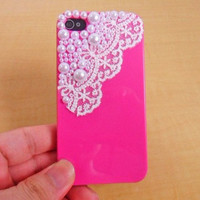 Pink hard Case made of pearl for apple iPhone 4GS case ,iPhone 4 case,iPhone 4S case ,iPhone hand case cover   SJK-2040