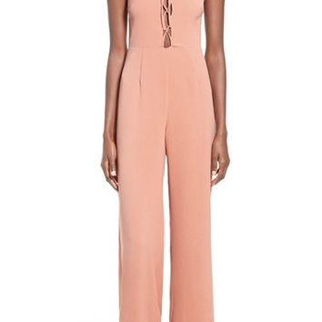 Missguided Lace-Up Sleeveless Jumpsuit | Nordstrom