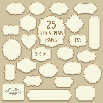 Gold Digital Frames Clip Art Set. Christmas Tags, Labels, Borders in Gold and Cream. Birthday Cards, Invitations, Scrapbooking Design Set.