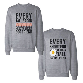 Tall Bacon And Short Egg Friend BFF Sweatshirts Matching Sweat Shirt