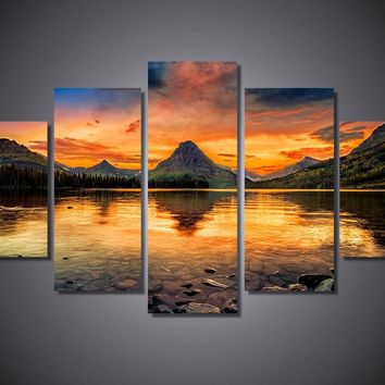 Two Medicine Lake 5-Piece Wall Art Canvas Glacier National Park