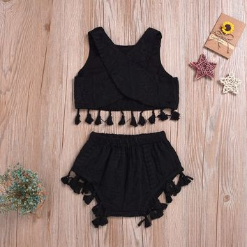 """Summer in Tassels"" 2-Piece Baby Girls Crop Set"