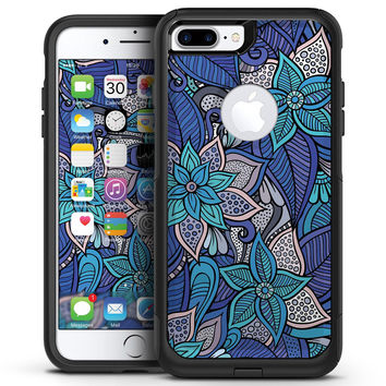 Floral Blues - iPhone 7 or 7 Plus Commuter Case Skin Kit