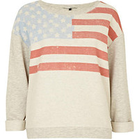 cream american flag print sweat top