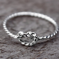 Rope Love Knot Ring tarnish resistant Argentium Sterling Silver Bridesmaid Friendship Ring Celtic knot