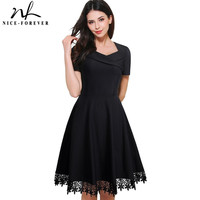 Nice-forever Vintage Elegant Stylish Embroidery Lace Sweat-Heart-Neck Ball Gown Women Short Sleeve Little Black Swing Dress A032