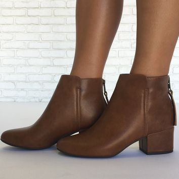 Kick It Booties in Cognac