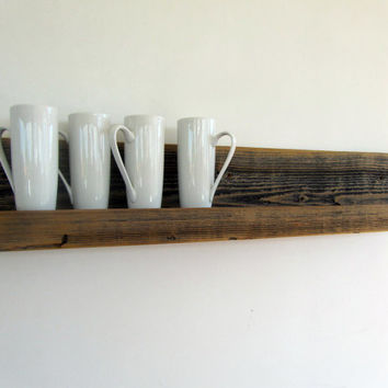 Rustic wall-mounted reclaimed wood shelving MOVED