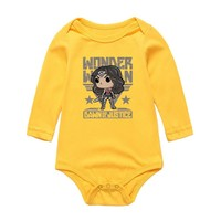 Newborn Baby Girls Summer Bodysuits & One-Pieces WONDER WOMAN Cartoon Style Clothes Infant Long Sleeve Jumpsuit Outwear