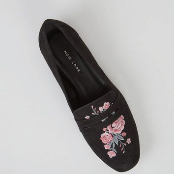 Wide Fit Black Floral Embroidered Loafers