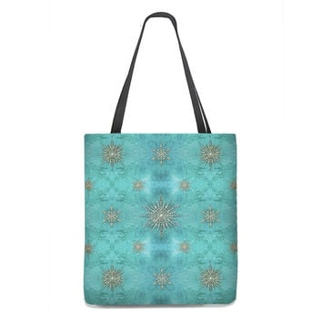 Sparkly Snowflakes Tote Bag in teal