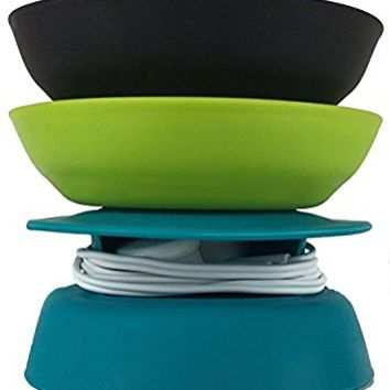 Budley - Tangle-Free Earphone / Earbud Case, Compact Storage System, Silicone (Teal/Lime/Black, Set of 3)