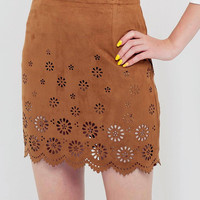 Brown Cut Out High Waisted Mini Skirt