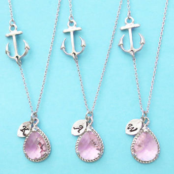 Set of 5-10, Personalized, Letter, Initial, Sideways, Anchor, Nautical, Pink, Glass, Stone, Silver, Necklace, Sets, Beach, Wedding, Gift