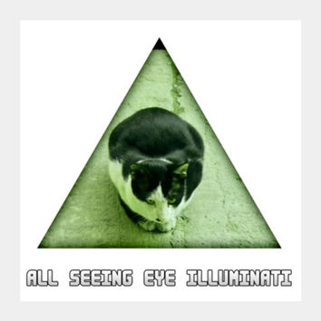 All Seeing Eye Illuminati Cat Square Art Prints | Artist : Nitin Kapoor