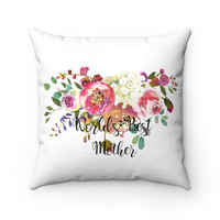 World's Best Mother Spun Polyester Square Pillow, Throw Pillow for Mom, Pink Flower Throw Pillow