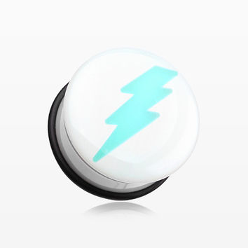 A Pair of Glow in the Dark Lightning Bolt Single Flared Ear Gauge Plug