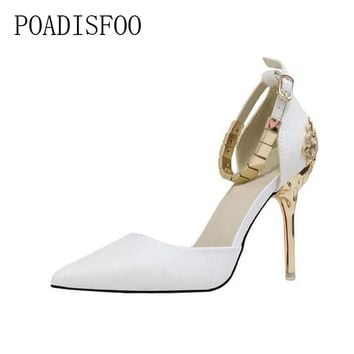 POADISFOO  fine with high-heel shallow mouth pointed hollow carved metal bag with chain word with a single shoes .ZWM-1723