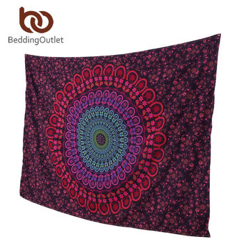 Red Geometric Bohemian Home Decor Large Mandala Wall Hanging Tapestry Wall Art