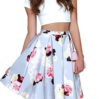 Fashion Two-piece Dress Suits White Cropped T-shirt Blue Flowers Printed Tuttu Skirt