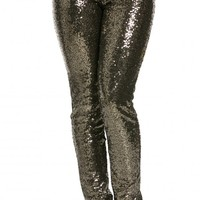 Allover Sequin Party Pants in Gold