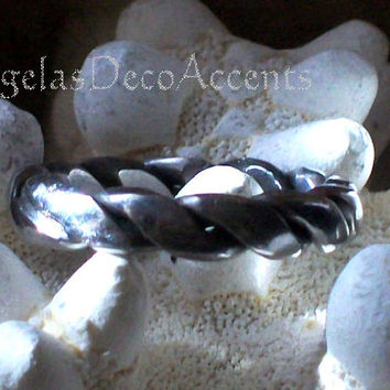 Vintage Stainless Ring, Polished Steel, Hand Welded, Rope Style, Unisex, Boho, 1970's Silver Color, Size 10 Large, Unisex Ring, Handcrafted