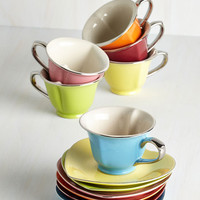 ModCloth Pastel Dream and Sugar Tea Set in Silver Trim