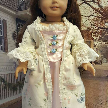 "Historical 18 inch doll clothes ""Springtime in New England"" will fit American Girl® 1794 colonial dress   OOAK Revolutionary era"