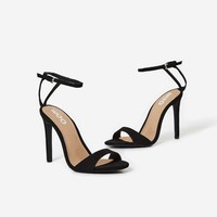 Lilan Barely There Heel In Black Faux Suede