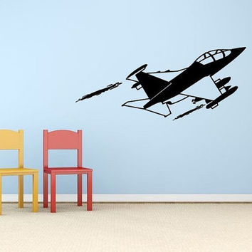 Wall Decor Vinyl Sticker Room Decal Art Airplane Jet For Kids Room Decal Plane 1288