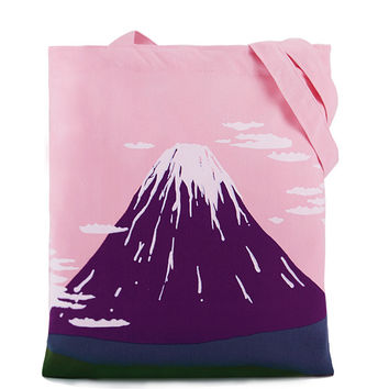Snowy Mountain Canvas Tote Bag in Pink and Violet with Zipper Closure