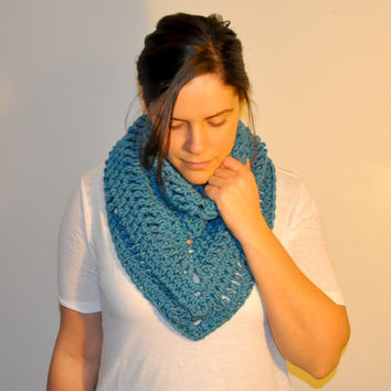 Crochet Mini Shawl, Spring Accessory, Scarf, Cowl, Poncho, Blanket, Hippie, Bohemian Style, Women's, Ladies, Aquamarine Blue