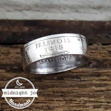 Illinois 90% Silver State Quarter Coin Ring