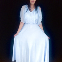 Vintage 70s Pale Blue Union Made Polyester  Sheer Chiffon Blousey Overlay Fairy Sleeve Maxi Dress M
