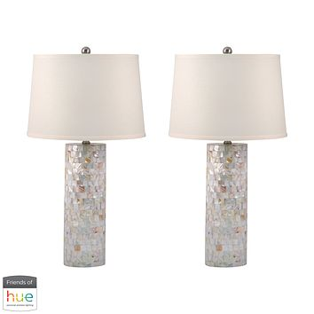 Mother of Pearl Cylinder Table Lamp - with Philips Hue LED Bulb/Bridge