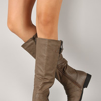 Round Toe Buckle Strap Knee High Boot